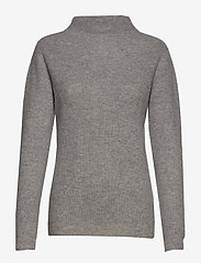 Davida Cashmere - Rib Funnel Neck Sweater - sweaters - light grey - 0