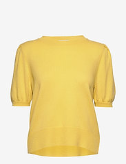 Davida Cashmere - Puff Shoulder Top - knitted tops - yellow - 0