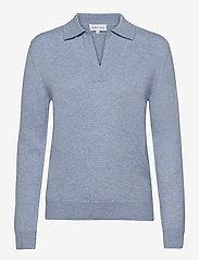 Davida Cashmere - Open Collar Sweater - sweaters - dusty light blue - 0
