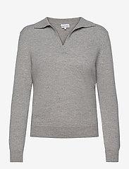 Open Collar Sweater - LIGHT GREY