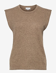 Davida Cashmere - Shoulder Detail Tank - knitted vests - mink - 0