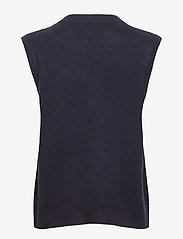 Davida Cashmere - O-neck Vest - knitted vests - navy - 1