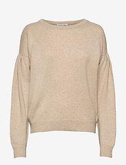 Davida Cashmere - Volume Sleeve Sweater - sweaters - light beige - 1