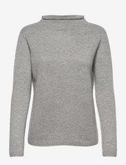 Davida Cashmere - Funnel Roll Neck Sweater - sweaters - light grey - 0