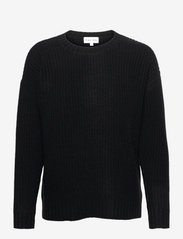 Chunky Knit Rib Sweater - BLACK