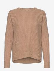 Davida Cashmere - Chunky Knit Rib Sweater - jumpers - toffee - 0