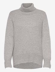 High Collar Oversized Sweater - LIGHT GREY