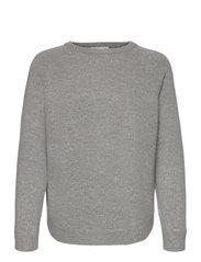 Davida Cashmere - Raglan Curved Sweater - jumpers - light grey - 0