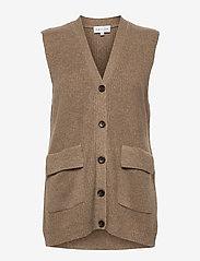 Davida Cashmere - Buttoned Vest - knitted vests - mink - 0