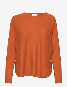 Curved Sweater - gensere - dark rust