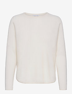 Curved Sweater - sweaters - white