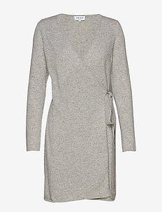 Wrap Over Dress - LIGHT GREY