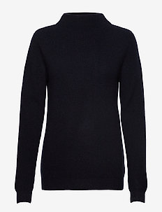Rib Funnel Neck Sweater - NAVY