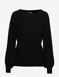 Balloon Sleeve Sweater - cashmere - black