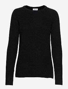Chunky O-neck Rib Sweater - BLACK