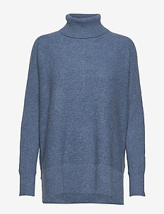 Rib Polo Loose Sweater - DUSTY BLUE