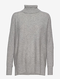 Rib Polo Loose Sweater - LIGHT GREY