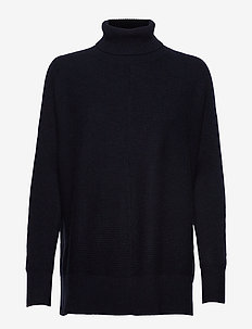 Rib Polo Loose Sweater - NAVY