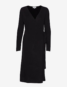 Wrap Rib Midi Dress - BLACK