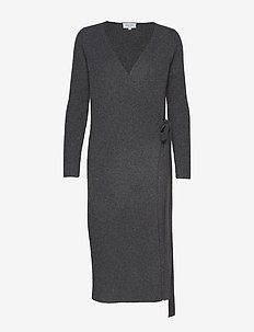 Wrap Rib Midi Dress - DARK GREY