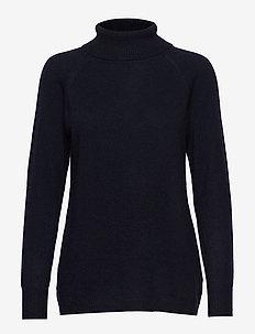 Raglan Turtleneck Loose Sweater - NAVY