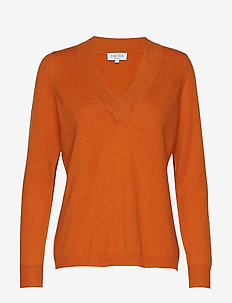 V-neck oversized sweater - cashmere - rust