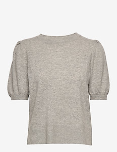 Puff Shoulder Top - LIGHT GREY