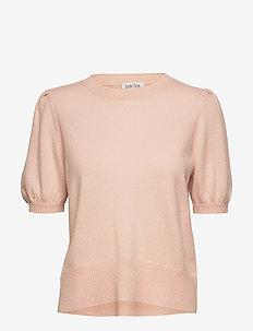 Puff Shoulder Top - strikkede toppe og t-shirts - light pink