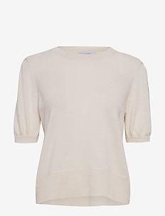Puff Shoulder Top - strikkede topper & t-skjorter - white