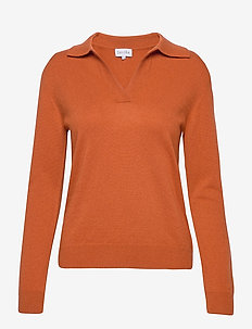 Open Collar Sweater - cashmere - dark rust