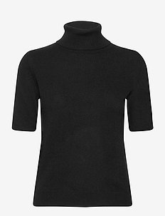 Turtleneck T-Shirt - knitted tops & t-shirts - black