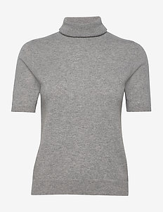 Turtleneck T-Shirt - stickade toppar & t-shirts - light grey