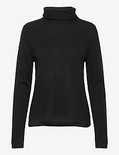 Fold Neck Sweater - cachemire - black