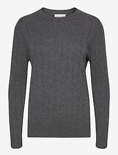 Wide Rib O-neck Sweater - cachemire - dark grey