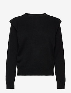 Shoulder Fold Sweater - sweaters - black