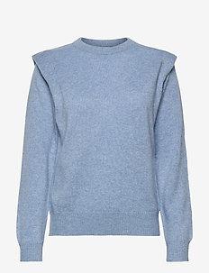 Shoulder Fold Sweater - sweaters - dusty light blue