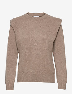 Shoulder Fold Sweater - sweaters - mink