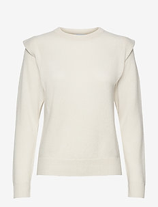 Shoulder Fold Sweater - sweaters - white