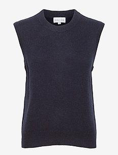 O-neck Vest - knitted vests - navy