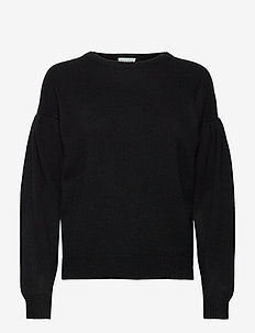 Volume Sleeve Sweater - sweaters - black