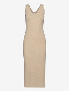 V-neck Midi Dress - bodycon dresses - light beige