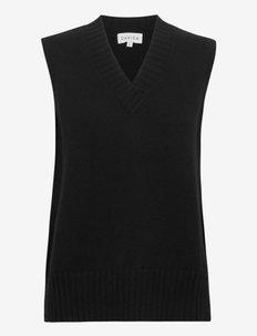 V-neck Vest - kootud vestid - black