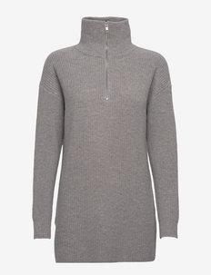 Half Zip Ribbed Long Sweater - rollkragenpullover - light grey