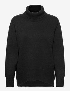 High Collar Oversized Sweater - rollkragenpullover - black