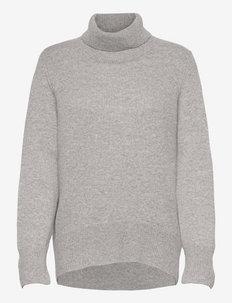 High Collar Oversized Sweater - turtlenecks - light grey