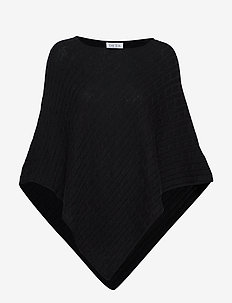 Triangle Cable Poncho - ponchos & capes - black