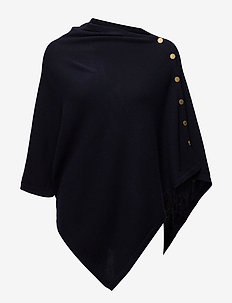 Poncho Gold Buttons - ponchos & capes - navy