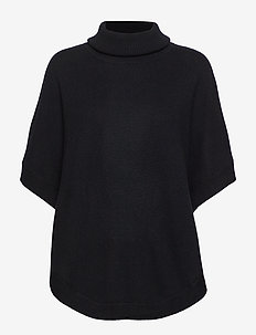 Turtleneck Round Poncho - BLACK