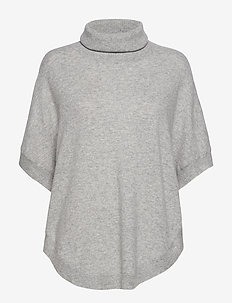 Turtleneck Round Poncho - pologenser - light grey