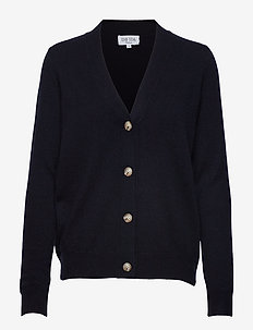 V-neck Boxy Cardigan - NAVY